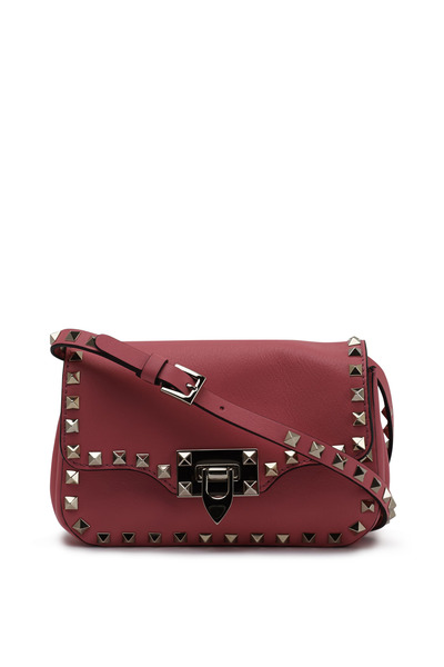 Valentino Garavani - Rockstud Fuschia Leather Mini Flap Bag