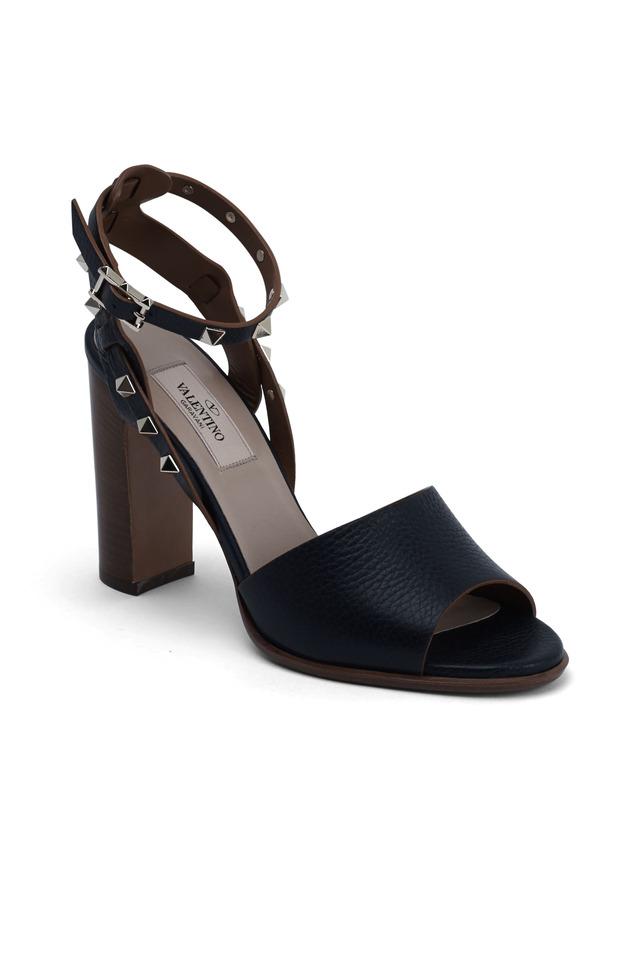 Rockstud Navy Blue Leather Sandals, 100mm