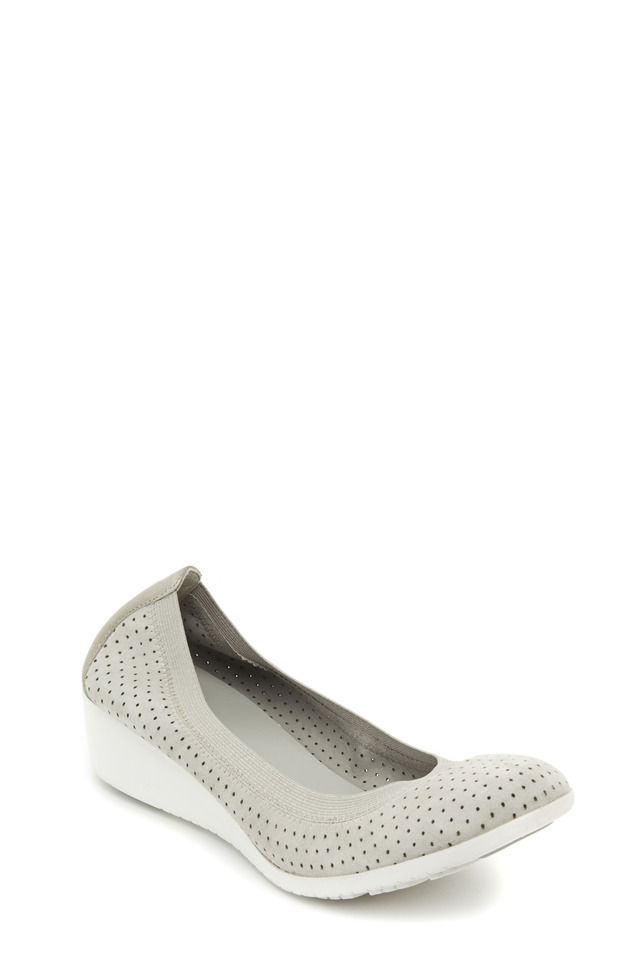 Gilmore Gray Suede Perforated Wedge, 40mm