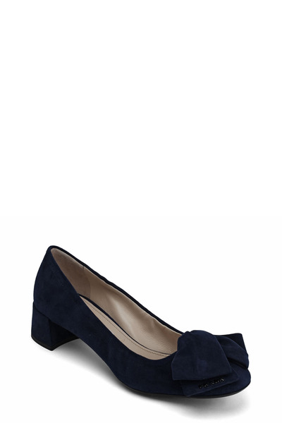 Prada - Navy Blue Suede Folded Bow Pump, 35mm
