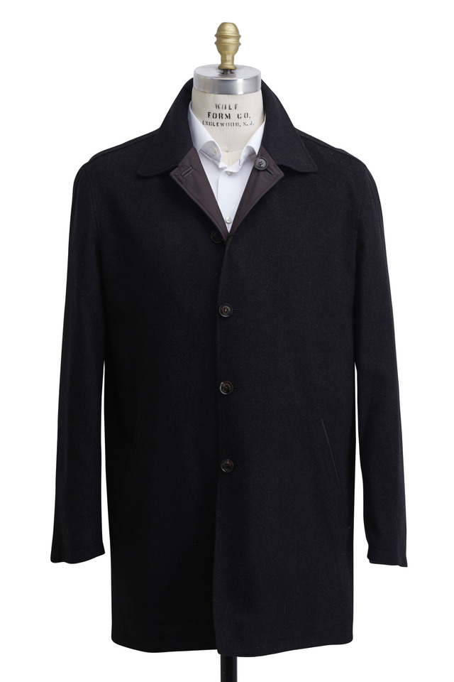 Charcoal Gray Wool & Cashmere Reversible Raincoat