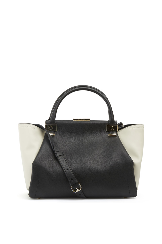 Trilogy Black & White Leather Zip Tote