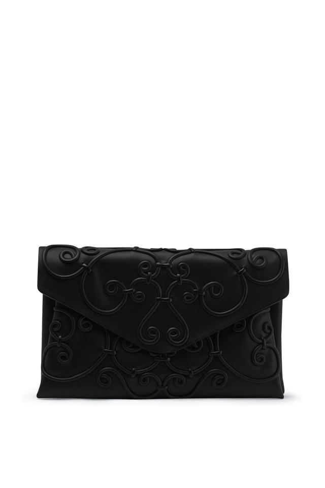 Intrigate Black Leather Swirl Envelope Clutch