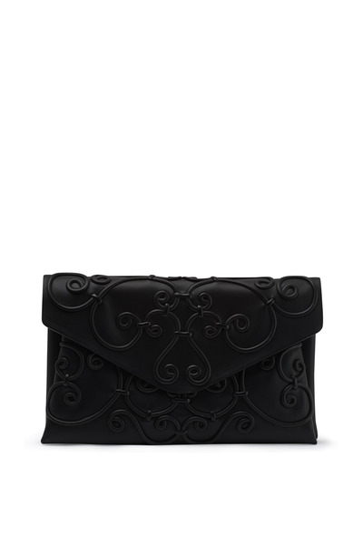 Valentino Garavani - Intrigate Black Leather Swirl Envelope Clutch
