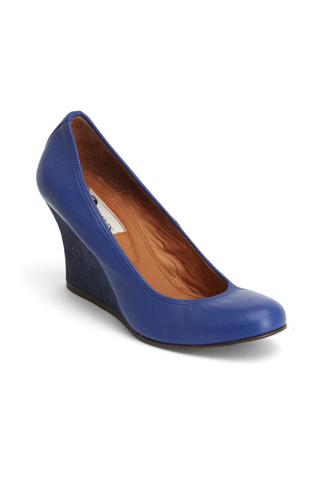 Blue Leather Ballerina Cork Wedges