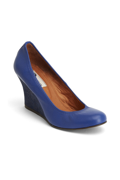 Lanvin - Blue Leather Ballerina Cork Wedges