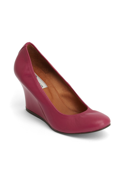 Lanvin - Fuchsia Patent Leather Ballerina Wedges
