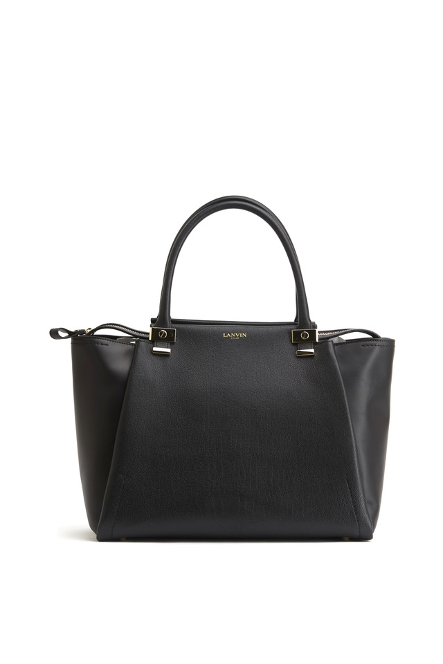 Trilogy Black Leather Zip Tote