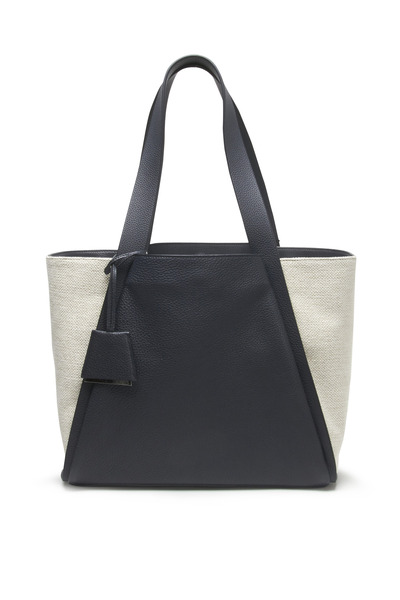 Akris - Alex Stucco & Navy Blue Denim Medium Shopper Bag