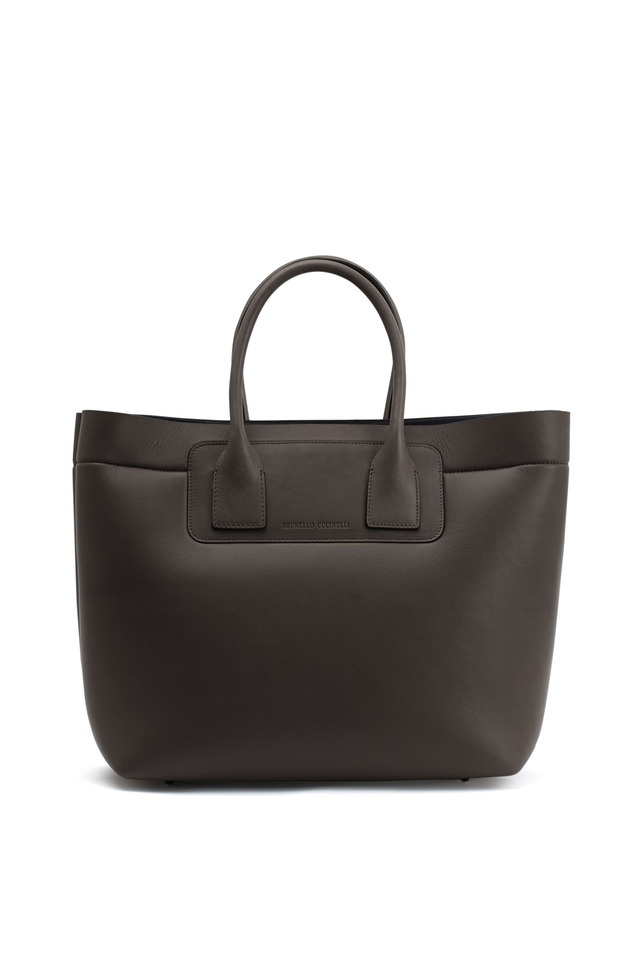 Dark Taupe Leather & Neoprene Large Tote