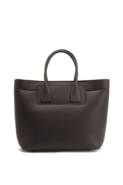 Brunello Cucinelli - Dark Taupe Leather & Neoprene Large Tote