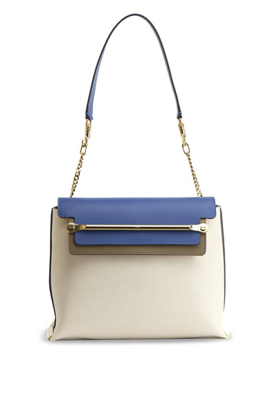 Chloé - Clare White & Blue Leather Flap Shoulder Bag