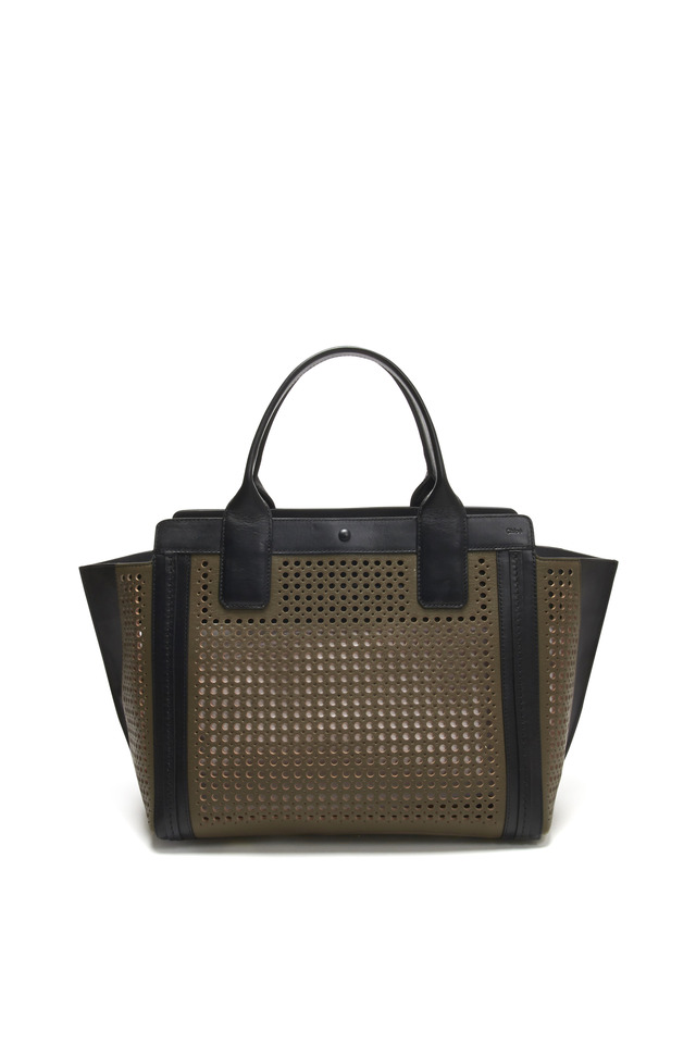 Alyson Grey Perforated Leather Tote