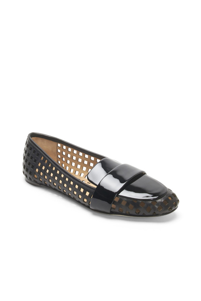 Black Leather Perforated Loafers