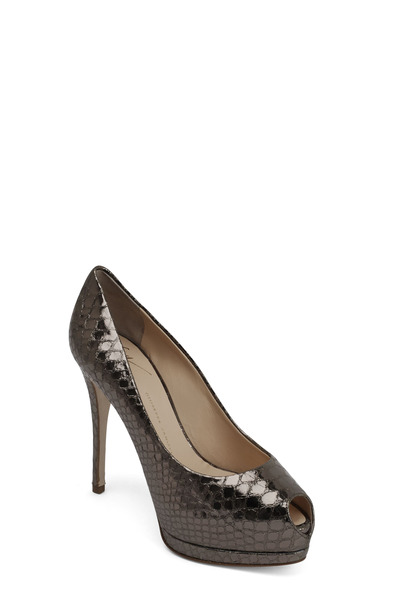 Giuseppe Zanotti - Anthracite Leather Peep Toe Pump, 90mm