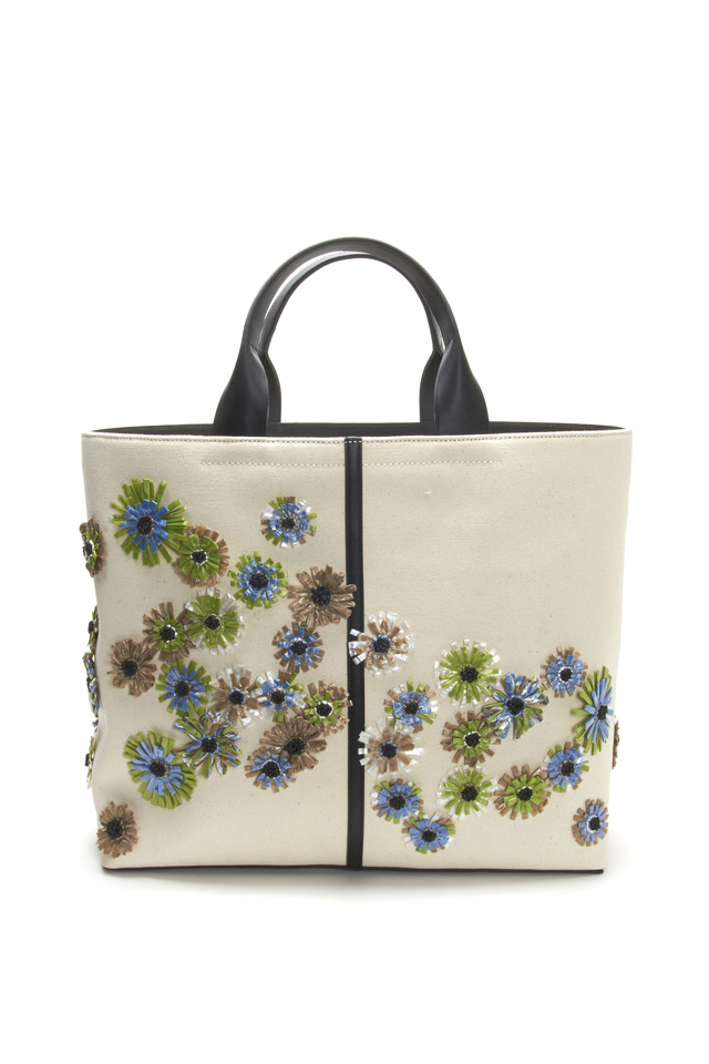Track Floral Embroidery Raffia Tote