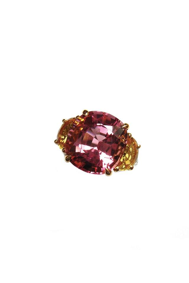 White Gold Orange Sapphires Pink Tourmaline Ring