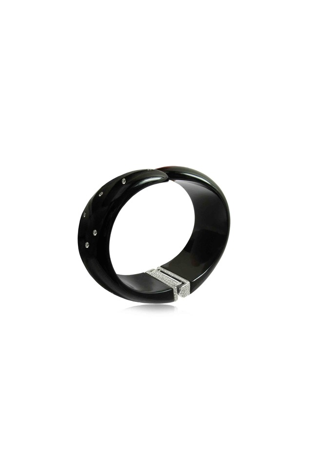White Gold Black Jade Diamond Hinged Cuff Bracelet