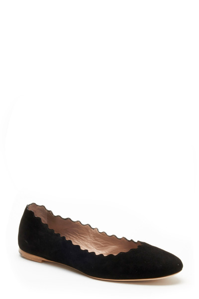 Chloé - Lauren Black Suede Scalloped Ballet Flats