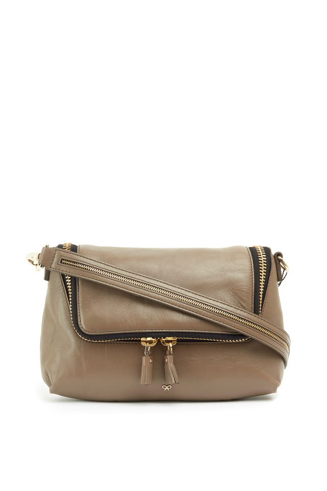 Maxi Zip Taupe Leather Crossbody Bag