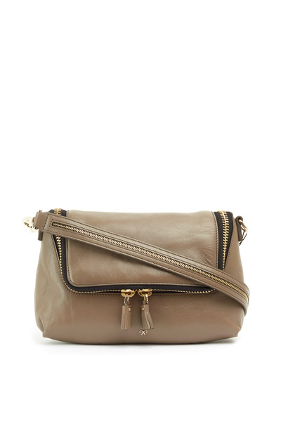 Anya Hindmarch - Maxi Zip Taupe Leather Crossbody Bag