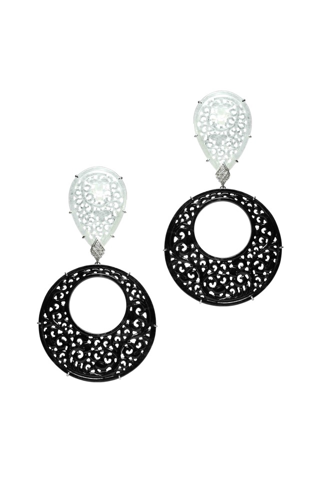 White Gold Black & White Jade Diamond Earrings