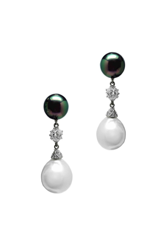 White Gold Tahitian & Baroque Pearl Earrings