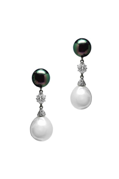 Paolo Costagli - White Gold Tahitian & Baroque Pearl Earrings