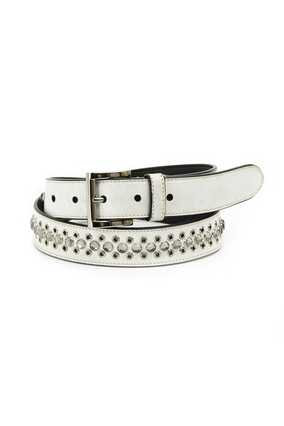 Prada - Antique White Leather Studded Belt