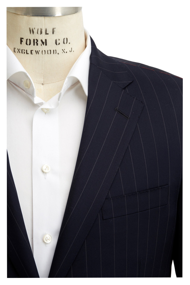 Navy Blue Striped Worsted Wool Suit