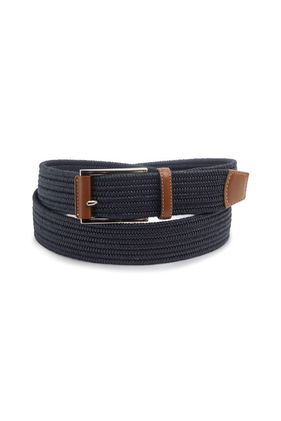 Torino - Navy Blue Cotton Woven Belt