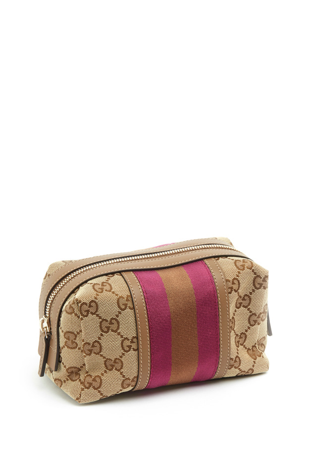 Pink Stripe Leather Gucci Print Cosmetic Case