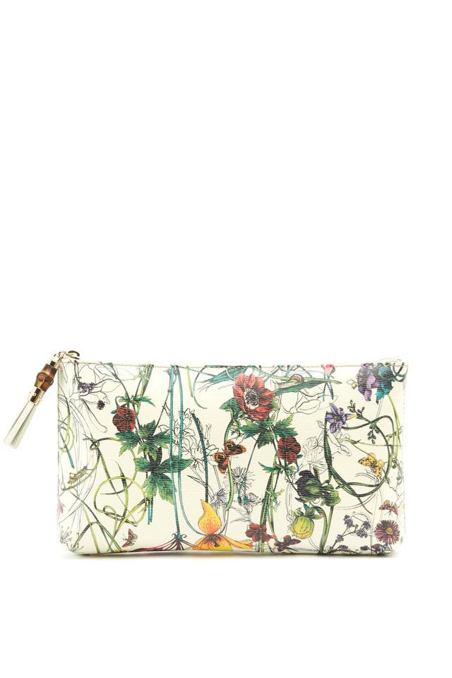 Floral Leather Slim Zip Bag