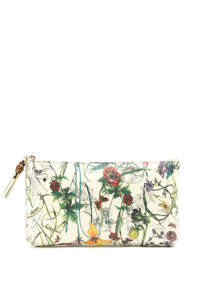 Gucci - Floral Leather Slim Zip Bag