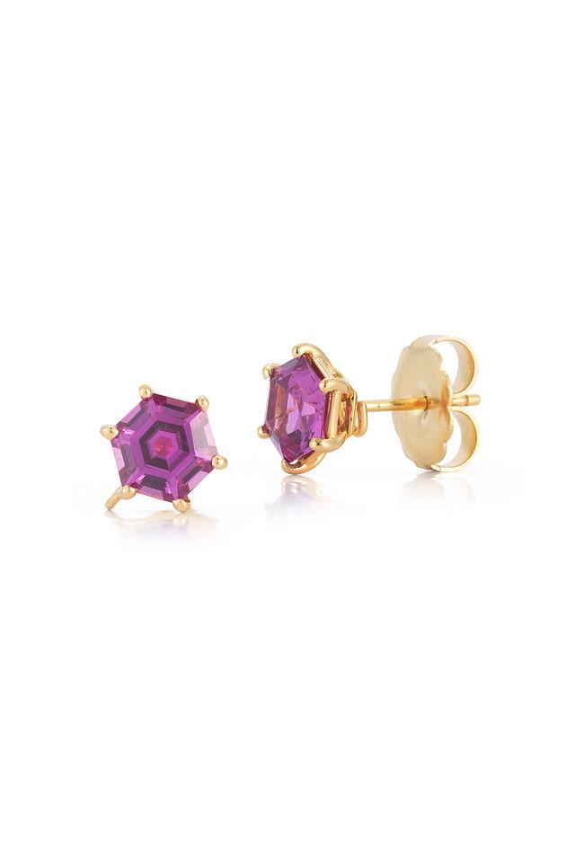 Hexagonal Pink Sapphire Earrings