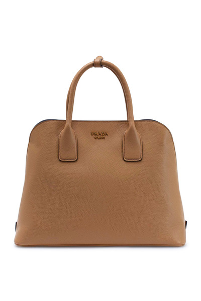Prada - Natural Saffiano Leather Dome Satchel