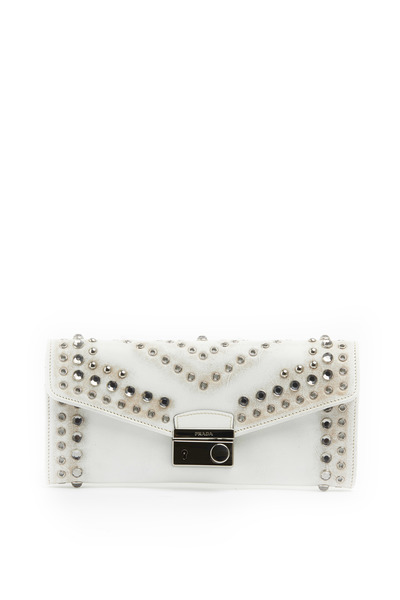 Prada - White Leather Vintage Flaplock Wall Strap Clutch