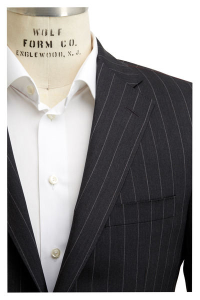 Samuelsohn - Charcoal Gray Striped Worsted Wool Suit