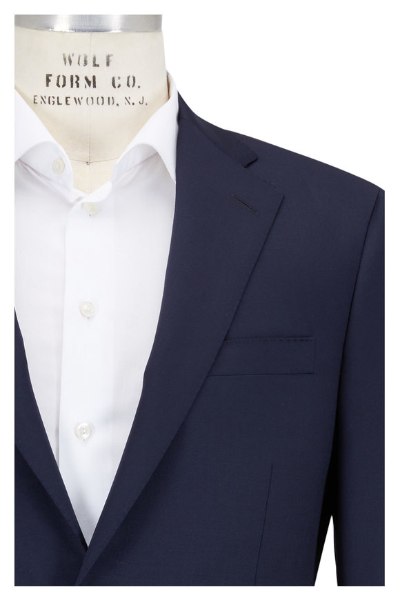 Samuelsohn Navy Blue Worsted Wool Sportcoat