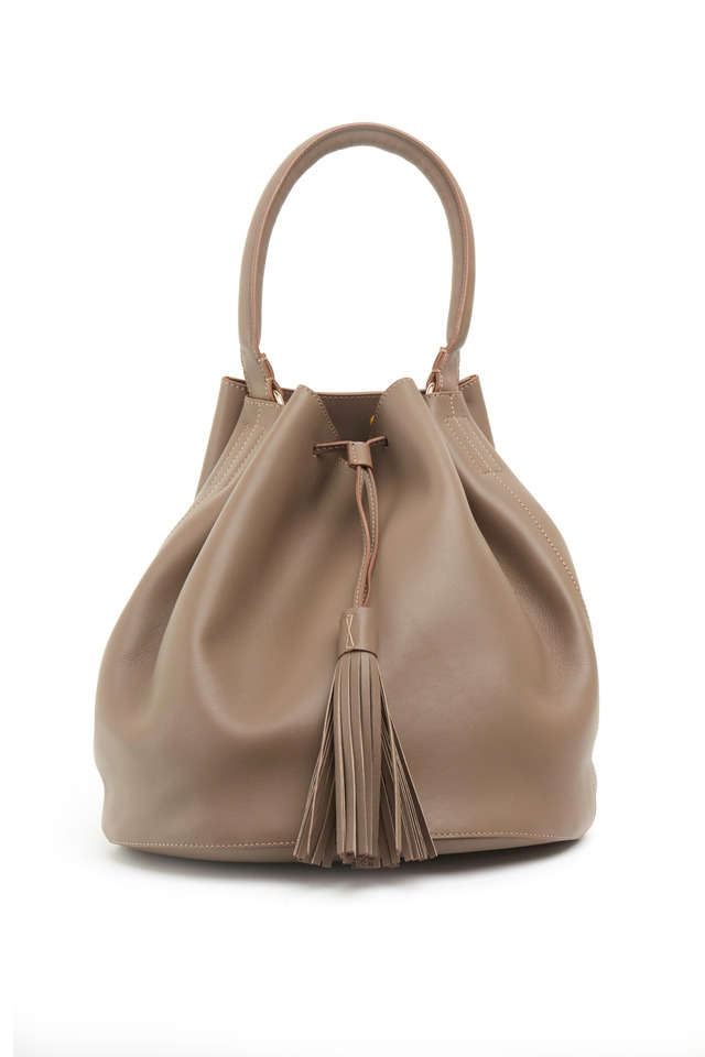 Vaughn Gray Leather Medium Tassel Shoulder Bag