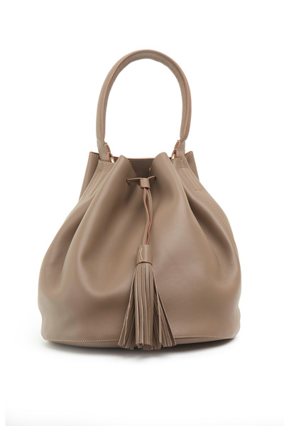 Anya Hindmarch - Vaughn Gray Leather Medium Tassel Shoulder Bag