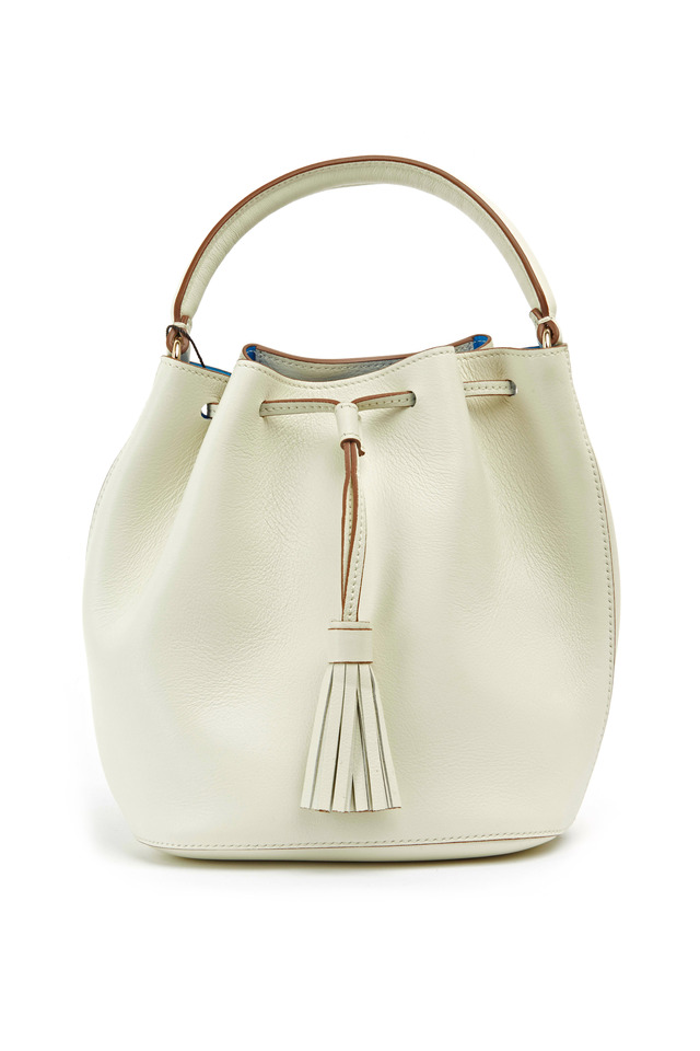 Vaughn White Leather Mini Drawstring Crossbody Bag