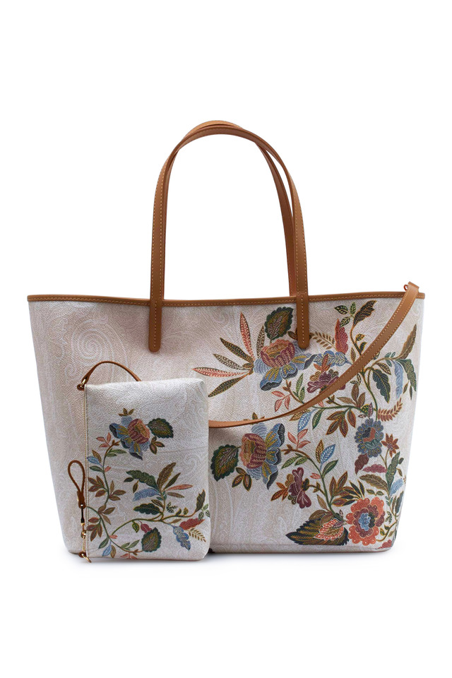 Ivory Coated Canvas Floral Print Tote