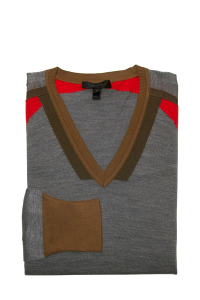 Belstaff - Scarlet Grey & Brown Silk Sweater