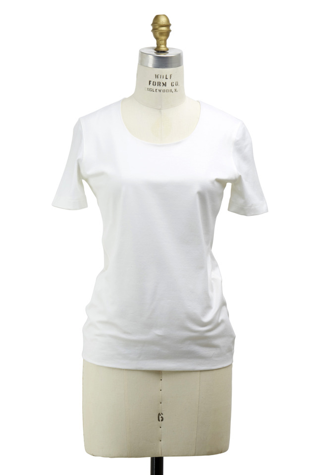 Off-White Stretch Cotton Knit Top