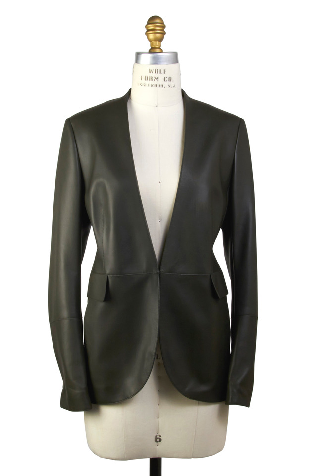 Leonardo Olive Green Leather  Jacket