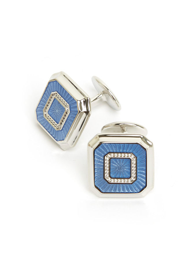 Sterling Silver Light Blue Square Cuff Links