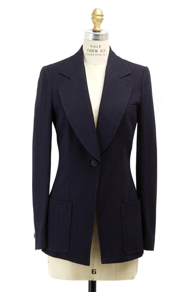 Navy Blue Silk & Wool Herringbone Jacket