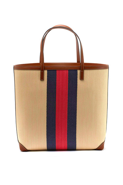 Gucci - Vintage Web Natural Striped Straw Tote