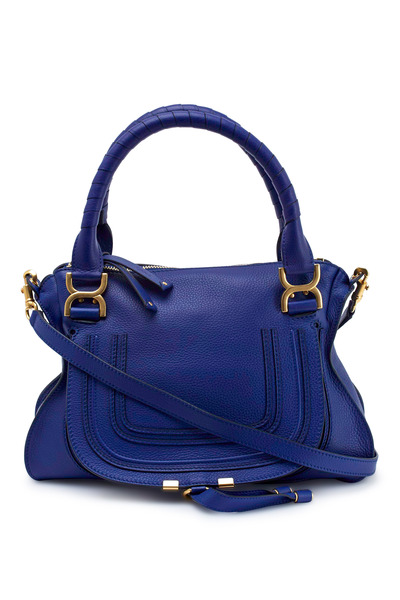 Chloé - Marcie Blue Leather Medium Long Strap Handbag